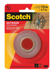 3M Scotch 411M Outdoor Para Exteriors Mounting Tape, 25.4mm x 1.52 meters, Red