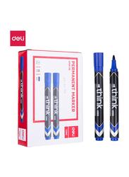 Deli U10030 Permanent Marker, 12 Pieces, 1.5mm, Blue