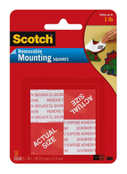 3M Scotch 108 Squares Removable Mounting, 25.4 x 25.4mm, Red