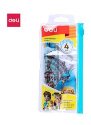 Deli EG01503 4-Piece Drafting Set, Clear