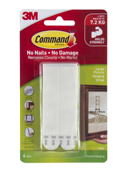 3M Command 17206 Large Picture Hanging Strips, 4 Sets, White