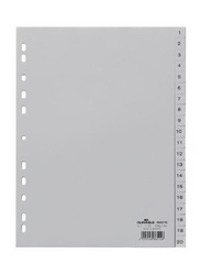 Durable 6522-10 Index with Printed and Tabs, Grey