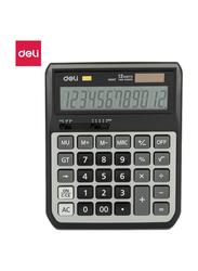 Deli EM00720 12 Big Digits Metal Calculator, Black/White