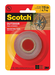 3M Scotch 4011 Superstrong Outdoor Para Exteridres Mounting Tape, 25.4mm x 1.52 meters, Red