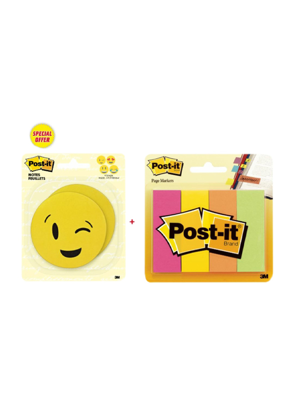 3M Post-it Emoji Sticker with 4 Color Page Marker, Yellow