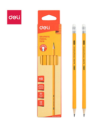 Deli E7079 HB Pencil with Eraser, 12 Pieces, Yellow