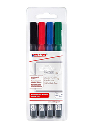 Edding E-361/4 S White Board Marker with Bullet Nib, 4 Pieces, Black, Red, Blue, Green