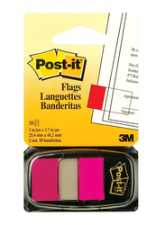3M Post-It 680-23 Tape Flags, 25.4 x 43.18mm, 50 Sheets, Bright Pink