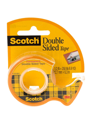 3M Scotch 136 Double Sided Tape with Dispenser, 12.7mm x 6.3 meters, Clear