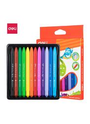Deli C20000 Triangle Plastic Color Crayons, 12 Pieces, Multicolor