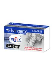 Kangaro 24/6 Munix Staple Pins, 1mm, 1000 Pieces, Silver