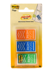 3M Post-It 682-SH-OBL Sign Here Tape Flags in Dispenser, 25.4 x 43.2mm, 3 x 20 Sheets, Multicolor