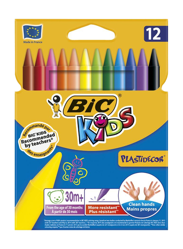 BIC Plastidecor Crayorns, 12 Pieces, Multicolor