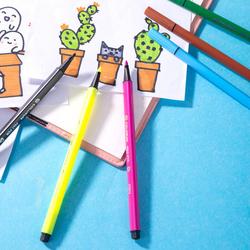 Deli EC10526-FELT Triangle Color Pen, 24 Pieces, Multicolor