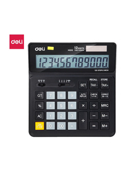 Deli EM01020 12 Digits Calculator with 120 Steps Check, Black
