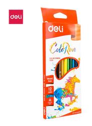Deli EC00100 Plastic Color Pencil, 12 Pieces, Multicolor