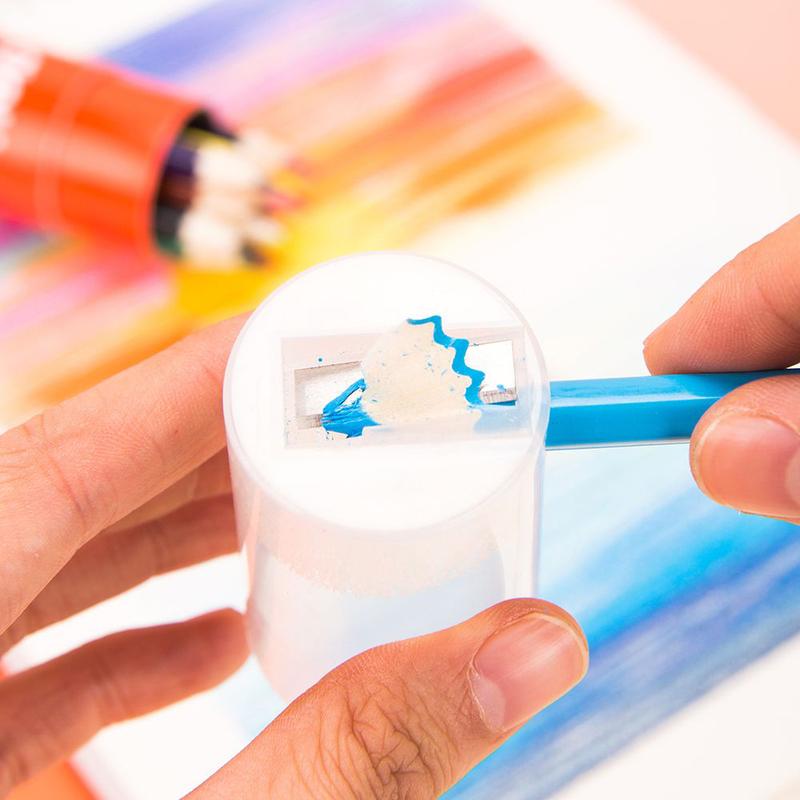 Deli C00307 Color Pencil with Sharpener, 12 Pieces, Multicolor