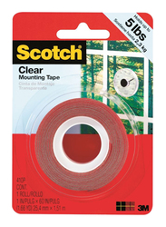 3M Scotch 4010 Clear Mounting Tape, 25.4mm x 1.51 meters, Red