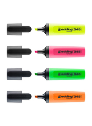 Edding E-345/4 S Highlighters, 4 Pieces, Yellow/Orange/Green/Blue