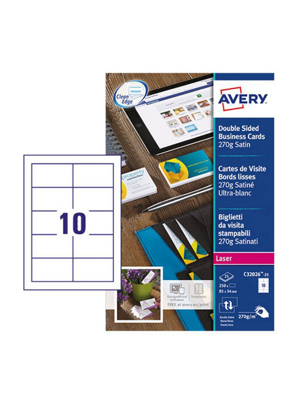 Avery C32026-25 Premium Business Cards, 270 GSM, 85 x 54mm, 10 Cards Per Sheet, 25 Sheets Per Pack, Satin White