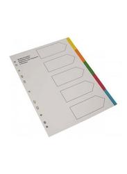 Elfen 1005C Polypropylene 5 Tabs Index File Divider, A4 Size, Multicolor