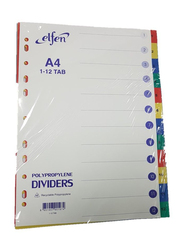 Elfen 1112C PVC File Divider with Index & 1-12 Numbers, A4 Size, Multicolor
