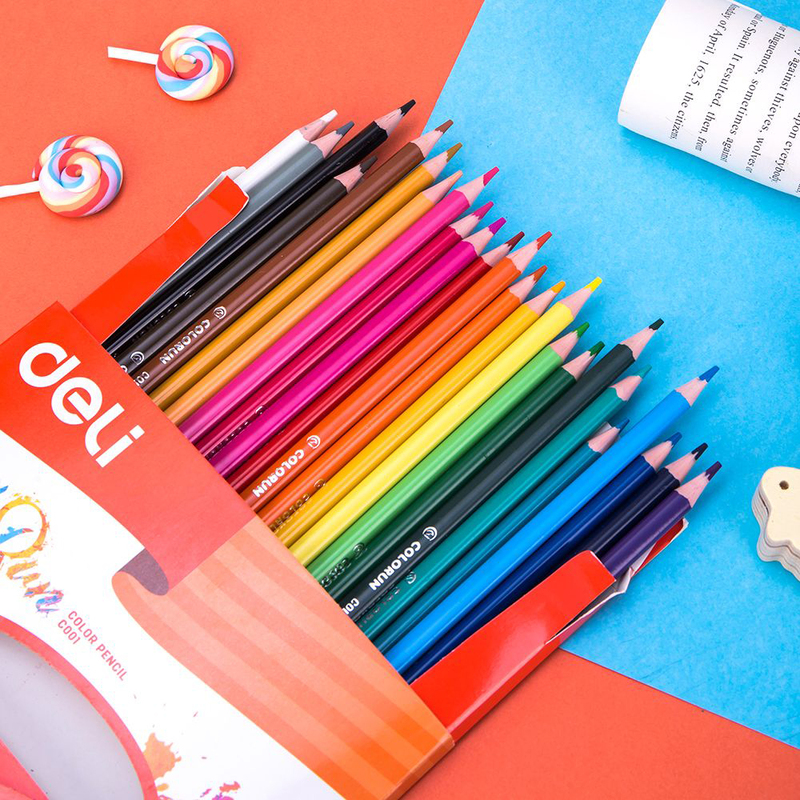 Deli EC00120 Plastic Color Pencil, 24 Pieces, Multicolor