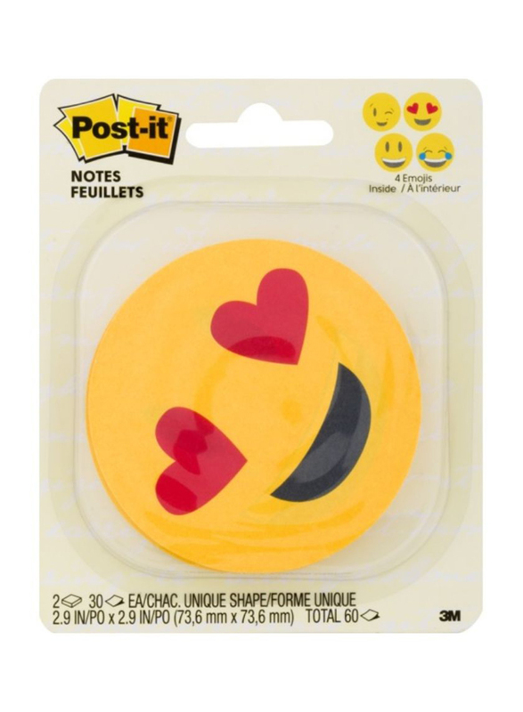 3M Post-It Emoji Design Printed Notes, 4 Alternating Faces, 76.2 x 76.2mm, 2 x 30 Sheets, Yellow