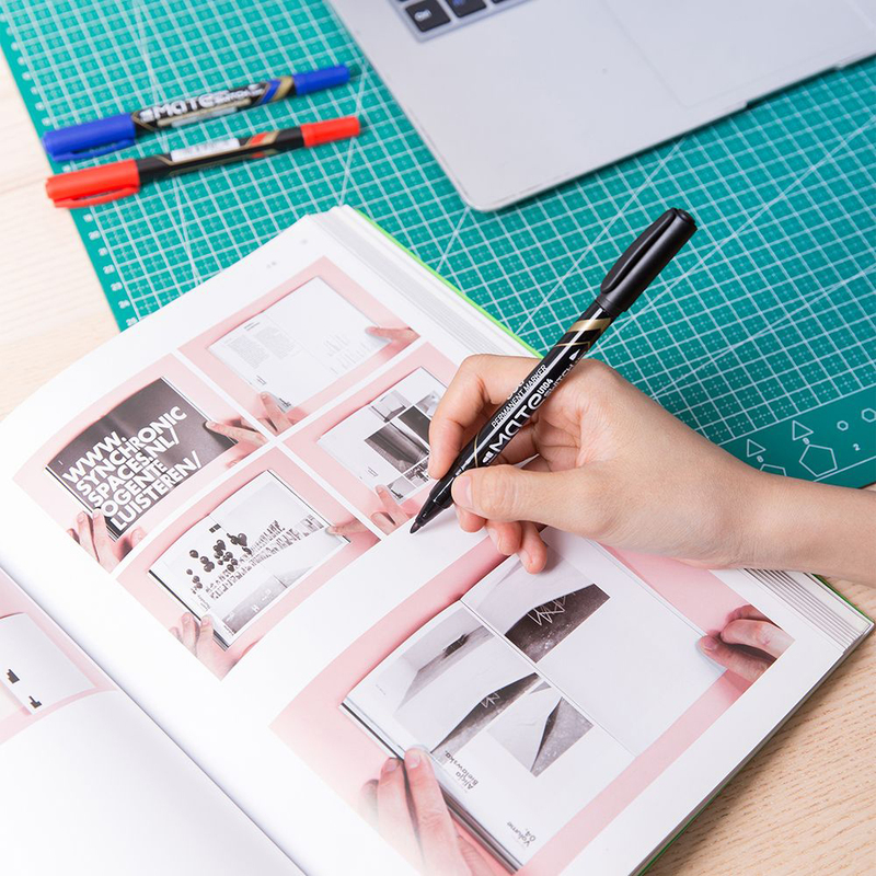 Deli U10420 Twin Marker Pen, 12 Pieces, 0.5-1mm, Black