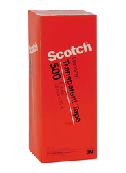 3M Scotch 500-3436Y Utility Tape, 18mm x 36Yards, 8 Rolls, Clear