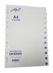 Elfen 1012 PVC File Divider with Index & 1-12 Numbers, A4 Size, White/Grey