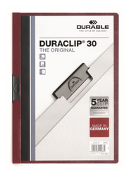 Durable Duraclip 2200-31 30-Sheets Capacity Clip File, A4 Size, Dark Red