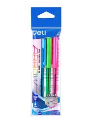 Deli EQ02632 Blue Ink Ball Point Pen, 4 Pieces, Multicolor
