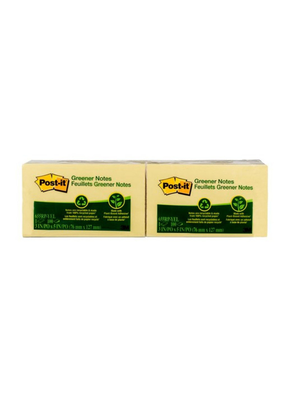 3M Post-It Greener Sticky Notes, 76 X 127mm, 12 x 100 Sheets, Canary Yellow