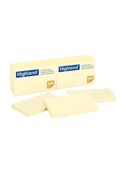 3M Highland 6559 Self-Stick Notes, 76 x 127mm, 12 x 100 Sheets, Yellow