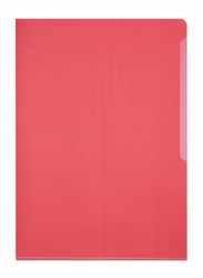 Durable 2339-03 PVC L-Shaped Transparent File Folder, A4 Size, 50 Pieces, Red