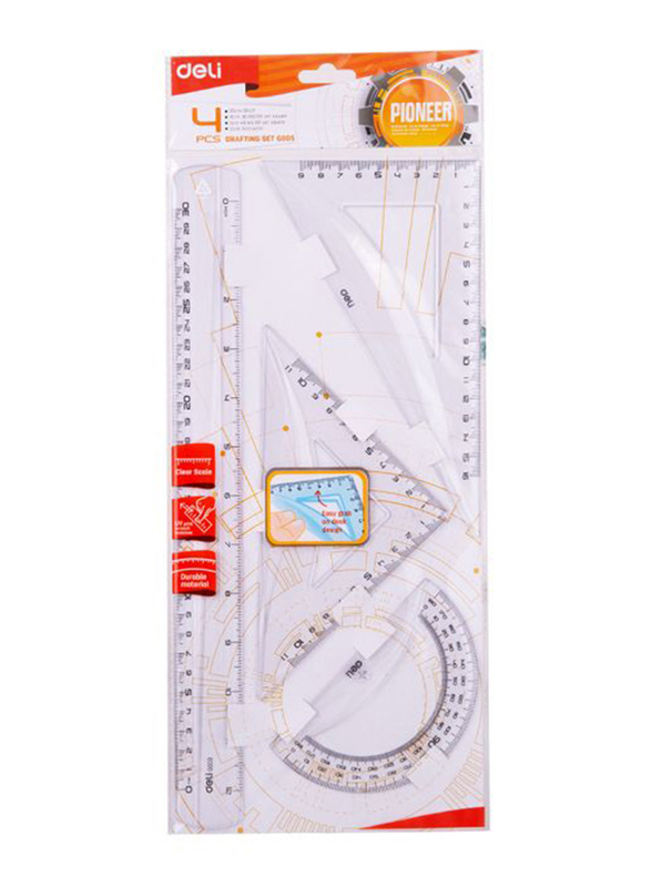 Deli 512 Plastic Ruler, 4 Pieces, 400mm, Clear