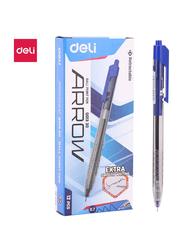 Deli Q01330 Arrow Retract Ball Pen, 12 Pieces, 7mm, Blue