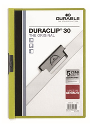 Durable Duraclip 2200-05 30-Sheets Capacity Clip File, A4 Size, Green