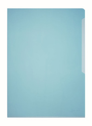 Durable 2339-06 PVC L-Shaped Transparent File Folder, A4 Size, 50 Pieces, Blue