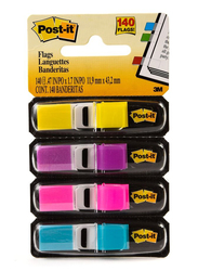 3M Post-It 683 4AB Tape Flag Color in 1 Dispenser, 11.9 x 43.2mm, 4 x 35 Sheets, Multicolor