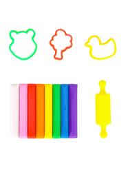Deli D75021 Plasticine Clay, 8 Pieces, 100 grams, Multicolor