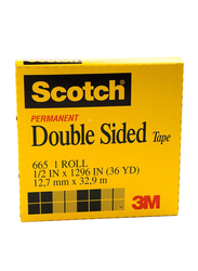 3M Scotch 665-1236 Double Sided Tape, 12.7mm x 32.9 meters, Yellow