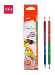 Deli EC00500 Dual Color Pencil, 12 Pieces, Multicolor