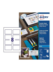Avery C32028-25 Premium Business Cards, 260 GSM, 85 x 54mm, 8 Cards Per Sheet, 25 Sheets Per Pack, Glossy White