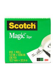 3M Scotch 810 Magic Tape, 12.7mm x 32.9 meters, Clear