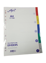 Elfen 1105C PVC File Divider with Index & 1-5 Numbers, A4 Size, Multicolor