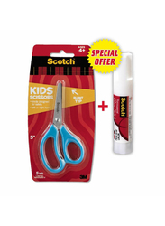 3M 5-inch Kids Scissor with 8gm Glue Stick Combo Pack, Blue