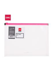 Deli E38156 Zip Bag, A5 Size, Transparent