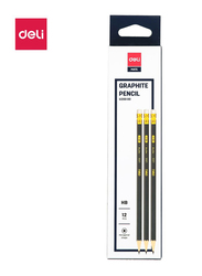 Deli EU20000 HB Graphite Pencil with Eraser, 12 Pieces, Black